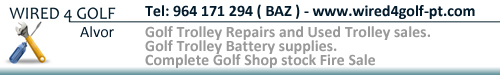 WIRED4GOLF-ALVOR-Golf Trolley Repairs and Used Trolley sales.-     Golf Trolley Battery supplies.- Complete Golf Shop stock Fire Sale